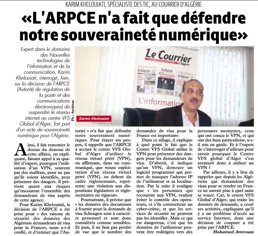 article karim khelouiati sur le courier d'algerie le 15/10/2019